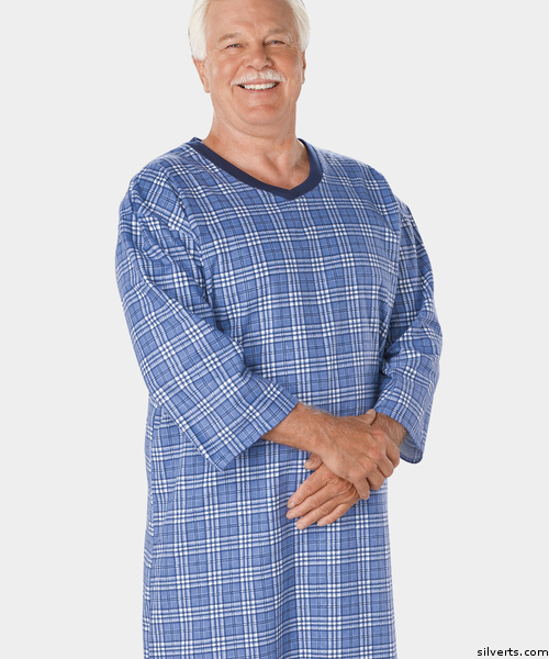 bccacbe1a0 Men s Flannel Open Back Adaptive Night Shirt 50120 50121